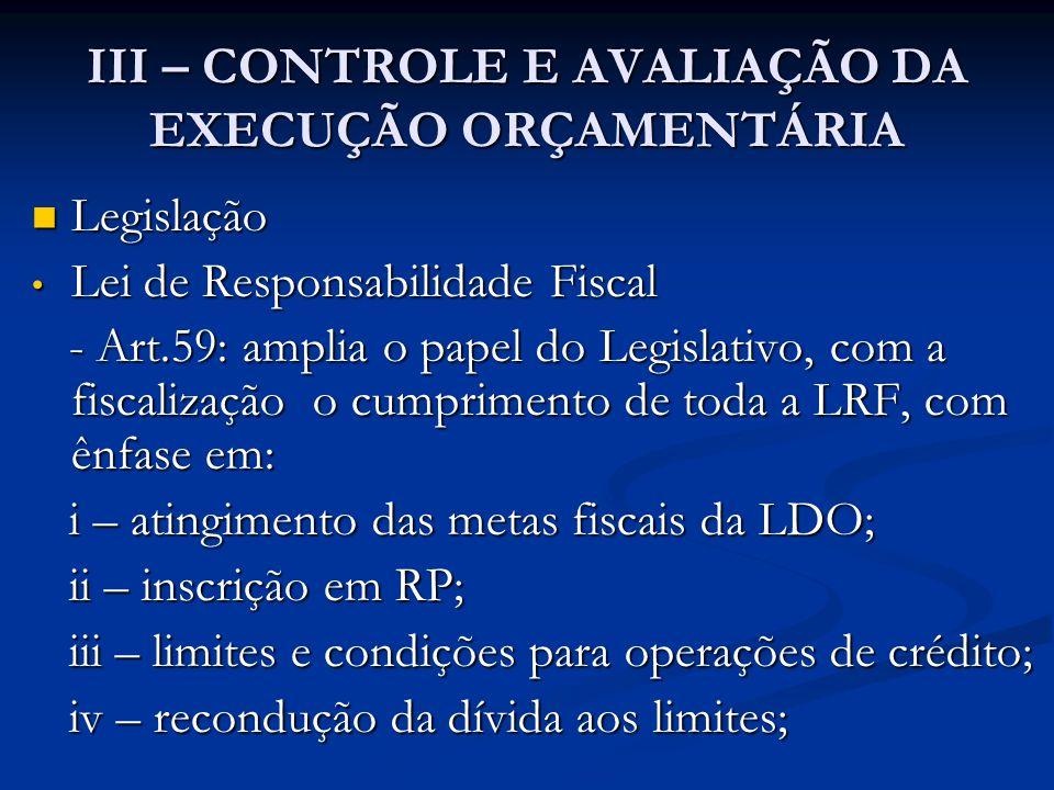 III – CONTROLE E AVALIAÇÃO DA EXECUÇÃO ORÇAMENTÁRIA  Legislação • Lei de Responsabilidade Fiscal - Art.59: amplia o papel do Legislativo, com a fiscalização o cumprimento de toda a LRF, com ênfase em: - Art.59: amplia o papel do Legislativo, com a fiscalização o cumprimento de toda a LRF, com ênfase em: i – atingimento das metas fiscais da LDO; i – atingimento das metas fiscais da LDO; ii – inscrição em RP; ii – inscrição em RP; iii – limites e condições para operações de crédito; iii – limites e condições para operações de crédito; iv – recondução da dívida aos limites; iv – recondução da dívida aos limites;