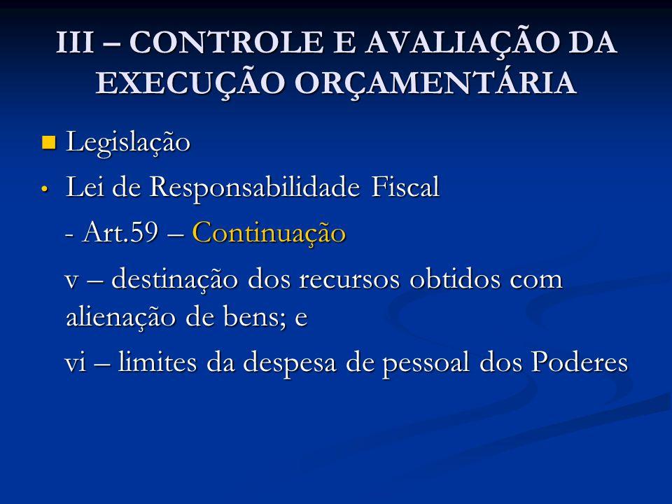 III – CONTROLE E AVALIAÇÃO DA EXECUÇÃO ORÇAMENTÁRIA  Legislação • Lei de Responsabilidade Fiscal - Art.59 – Continuação - Art.59 – Continuação v – de