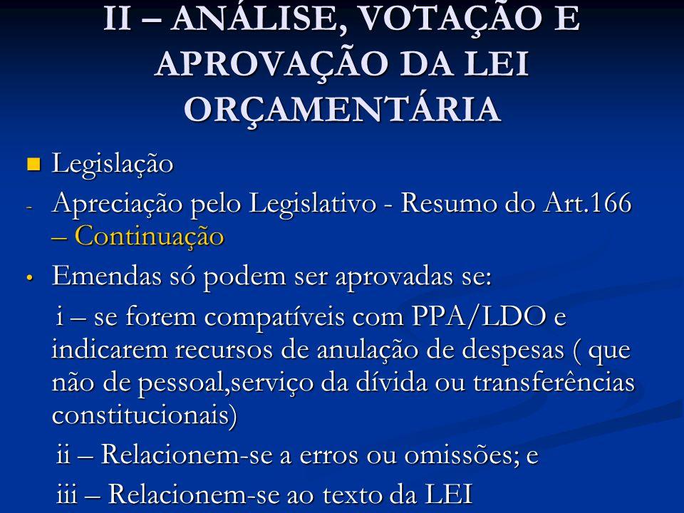 II – ANÁLISE, VOTAÇÃO E APROVAÇÃO DA LEI ORÇAMENTÁRIA  Legislação - Apreciação pelo Legislativo - Resumo do Art.166 – Continuação • O Presidente pode propor mensagem com modificações enquanto não é iniciada a votação, na Comissão Mista, da parte para a qual é proposta a alteração