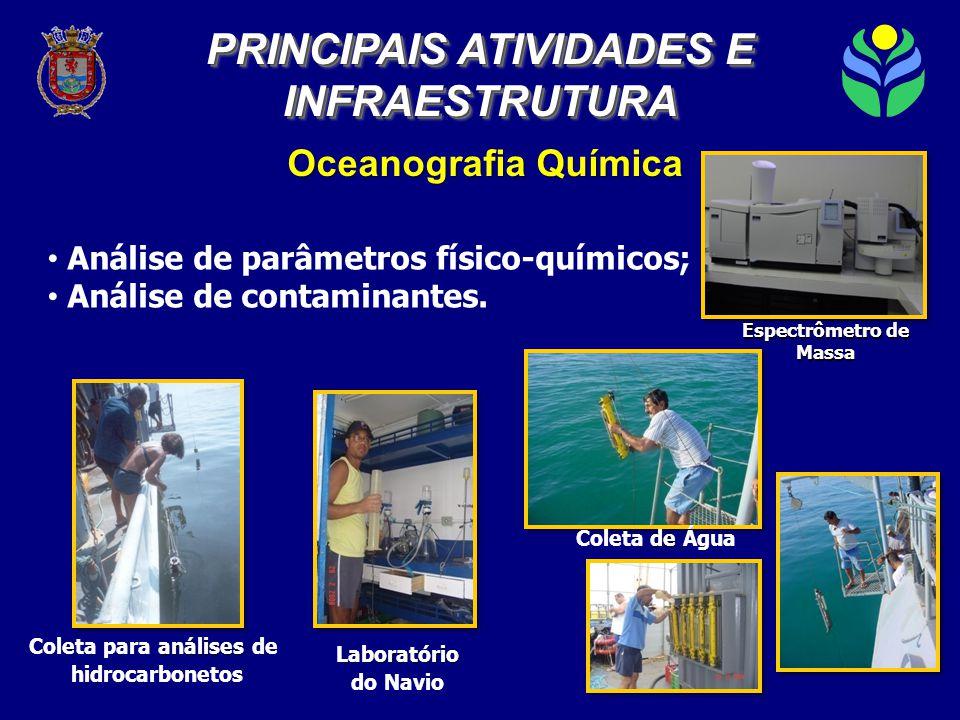 Oceanografia Química Laboratório do Navio análises Coleta para análises de hidrocarbonetos de Coleta de Água PRINCIPAIS ATIVIDADES E INFRAESTRUTURA INFRAESTRUTURA • Análise de parâmetros físico-químicos; • Análise de contaminantes.