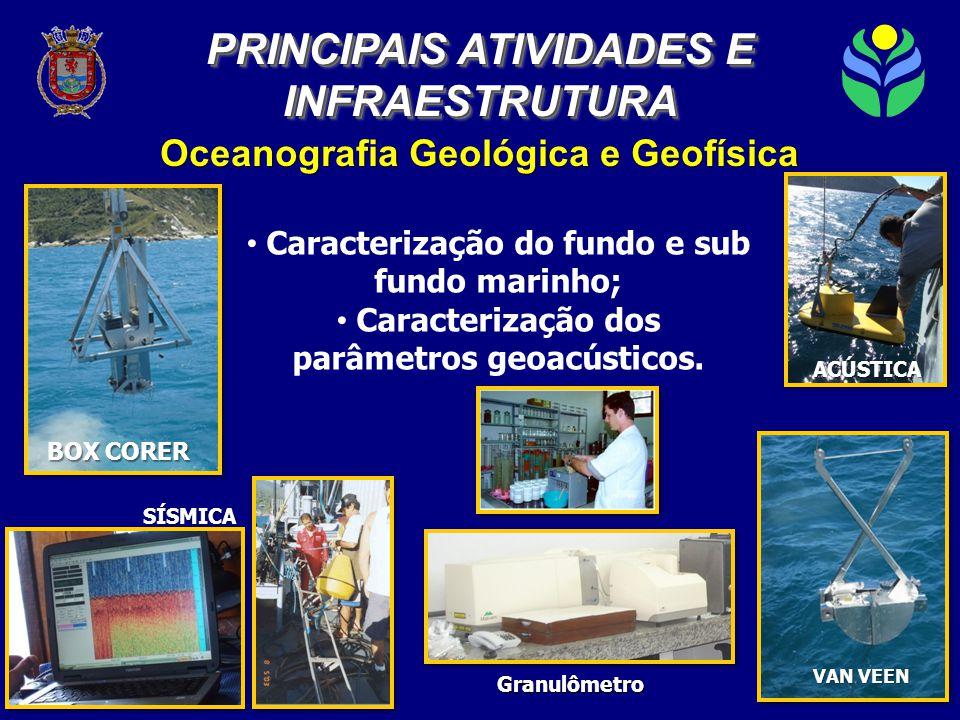 Oceanografia Geológica e Geofísica SÍSMICA ACÚSTICA VAN VEEN BOX CORER • Caracterização do fundo e sub fundo marinho; • Caracterização dos parâmetros geoacústicos.