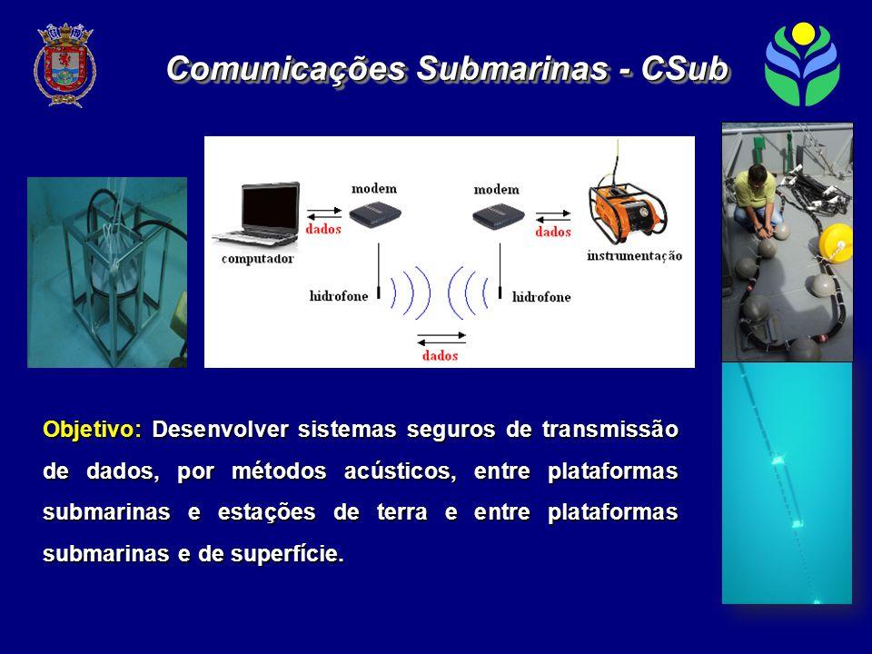 Objetivo: Desenvolver sistemas seguros de transmissão de dados, por métodos acústicos, entre plataformas submarinas e estações de terra e entre plataformas submarinas e de superfície.