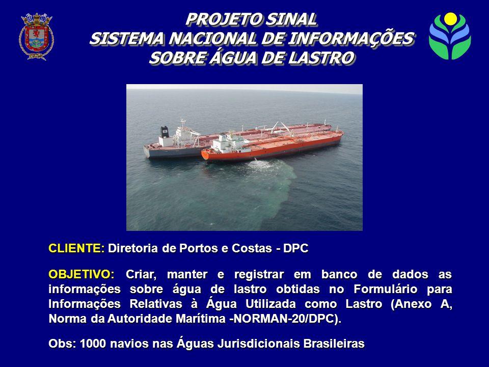 CLIENTE: Diretoria de Portos e Costas - DPC OBJETIVO: Criar, manter e registrar em banco de dados as informações sobre água de lastro obtidas no Formulário para Informações Relativas à Água Utilizada como Lastro (Anexo A, Norma da Autoridade Marítima -NORMAN-20/DPC).