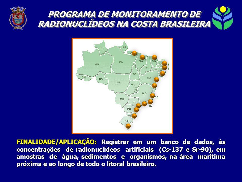 FINALIDADE/APLICAÇÃO: Registrar em um banco de dados, às concentrações de radionuclídeos artificiais (Cs-137 e Sr-90), em amostras de água, sedimentos e organismos, na área marítima próxima e ao longo de todo o litoral brasileiro.