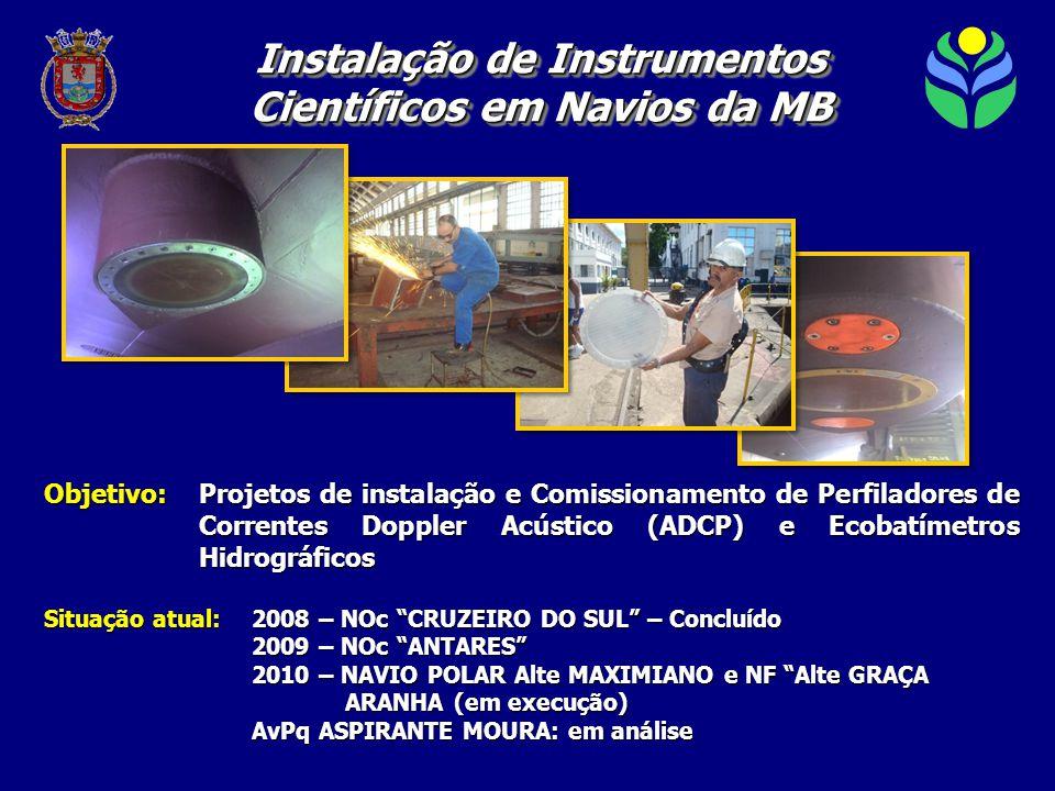 Objetivo:Projetos de instalação e Comissionamento de Perfiladores de Correntes Doppler Acústico (ADCP) e Ecobatímetros Hidrográficos Situação atual: 2008 – NOc CRUZEIRO DO SUL – Concluído 2009 – NOc ANTARES 2010 – NAVIO POLAR Alte MAXIMIANO e NF Alte GRAÇA ARANHA (em execução) ARANHA (em execução) AvPq ASPIRANTE MOURA: em análise Instalação de Instrumentos Científicos em Navios da MB