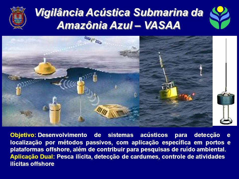 Objetivo: Desenvolvimento de sistemas acústicos para detecção e localização por métodos passivos, com aplicação específica em portos e plataformas offshore, além de contribuir para pesquisas de ruído ambiental.