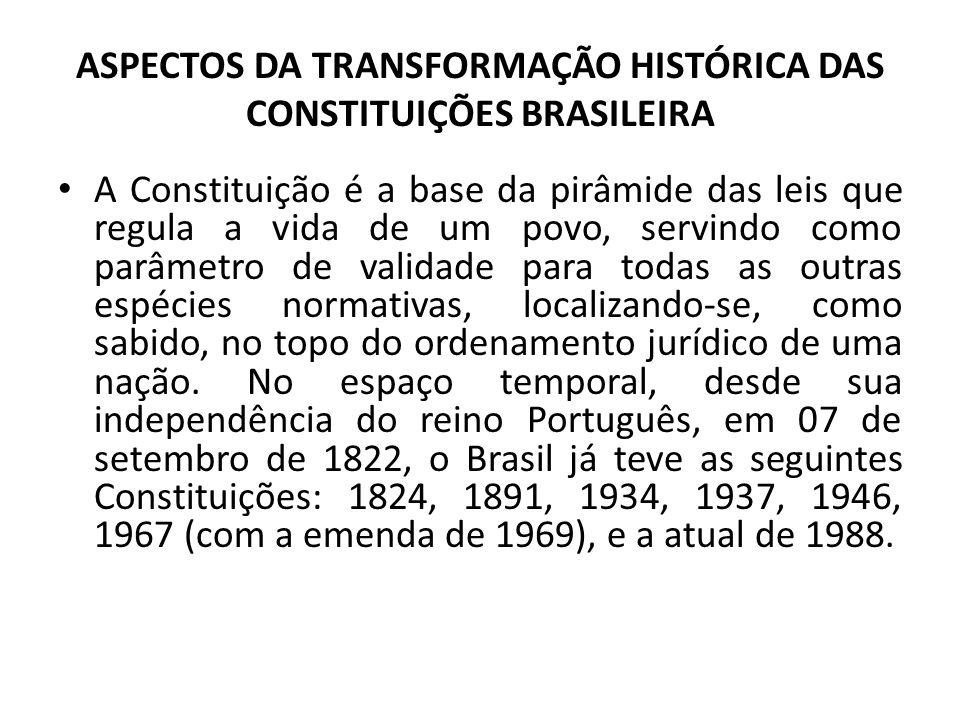 ASPECTOS DA TRANSFORMAÇÃO HISTÓRICA DAS CONSTITUIÇÕES BRASILEIRA • A Constituição é a base da pirâmide das leis que regula a vida de um povo, servindo