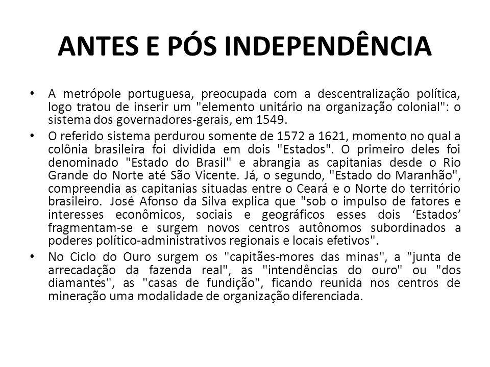 ANTES E PÓS INDEPENDÊNCIA • A metrópole portuguesa, preocupada com a descentralização política, logo tratou de inserir um