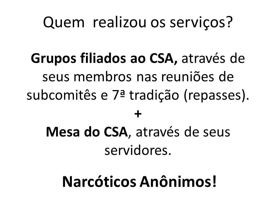 Grupos filiados ao CSA, através de seus membros nas reuniões de subcomitês e 7ª tradição (repasses). + Mesa do CSA, através de seus servidores. Quem r