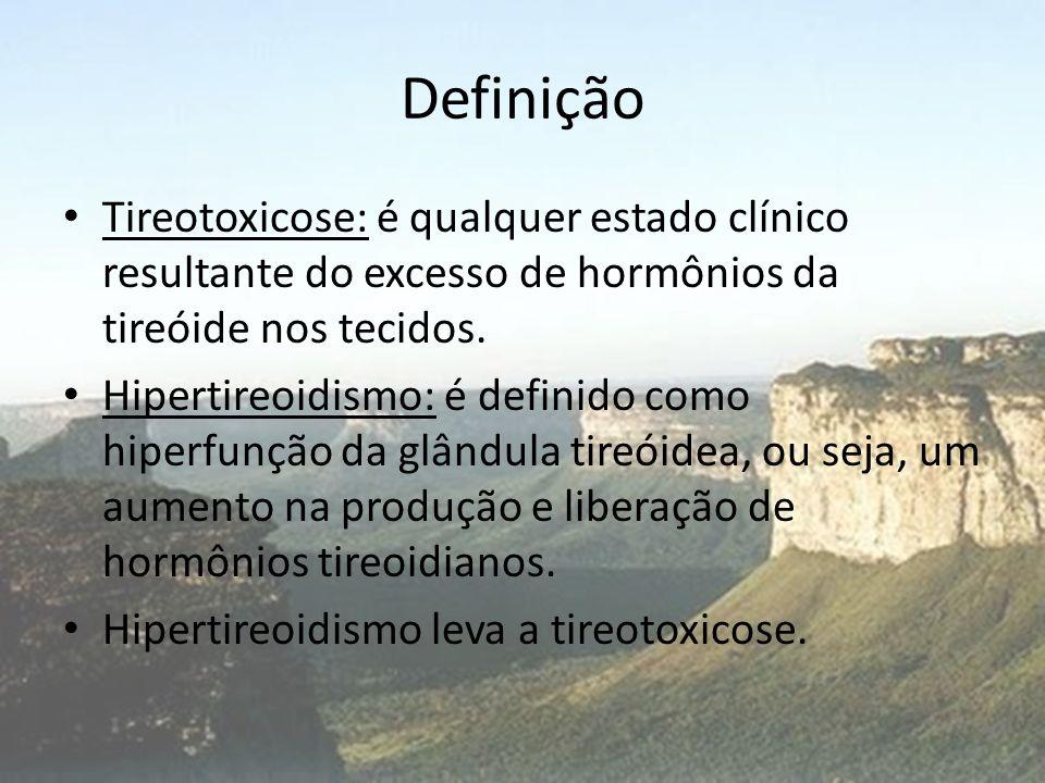 Definição • Tireotoxicose: é qualquer estado clínico resultante do excesso de hormônios da tireóide nos tecidos. • Hipertireoidismo: é definido como h