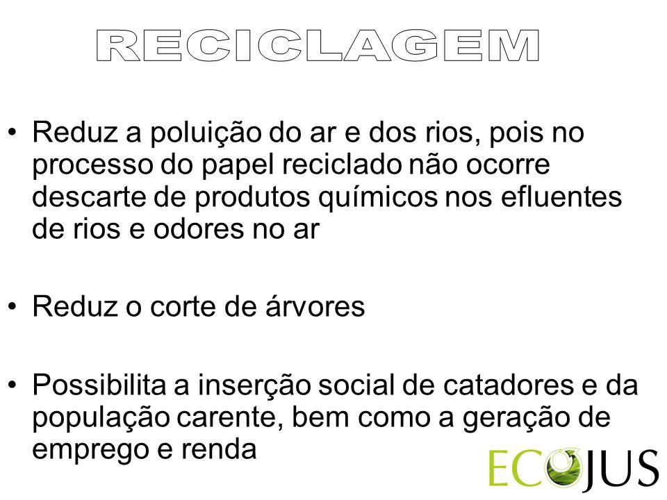 •Reduz a poluição do ar e dos rios, pois no processo do papel reciclado não ocorre descarte de produtos químicos nos efluentes de rios e odores no ar