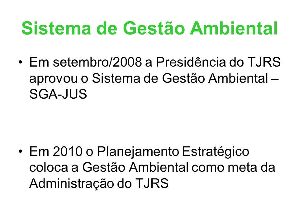 Sistema de Gestão Ambiental •Em setembro/2008 a Presidência do TJRS aprovou o Sistema de Gestão Ambiental – SGA-JUS •Em 2010 o Planejamento Estratégic