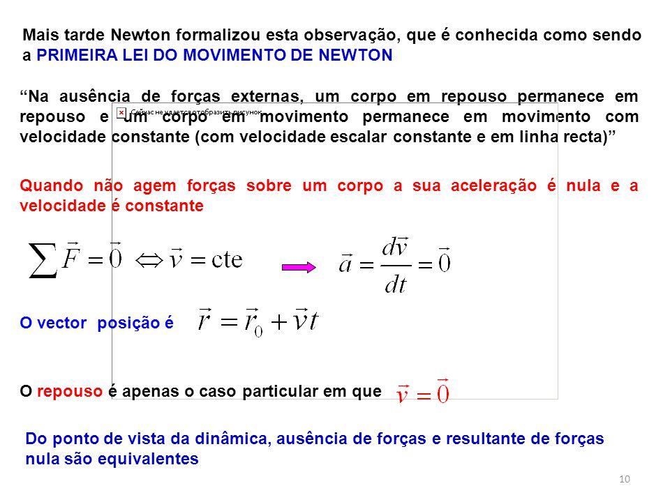 """Mais tarde Newton formalizou esta observação, que é conhecida como sendo a PRIMEIRA LEI DO MOVIMENTO DE NEWTON """"Na ausência de forças externas, um cor"""