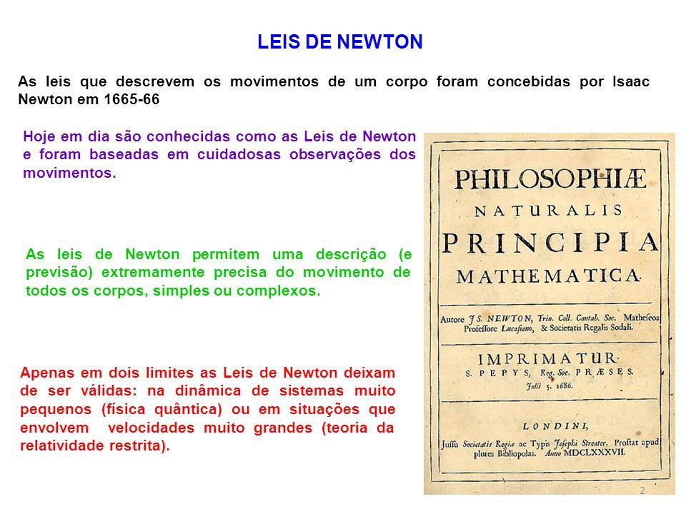 Apenas em dois limites as Leis de Newton deixam de ser válidas: na dinâmica de sistemas muito pequenos (física quântica) ou em situações que envolvem