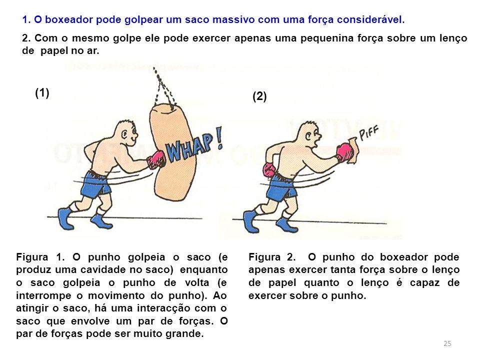 (1) (2) Figura 1. O punho golpeia o saco (e produz uma cavidade no saco) enquanto o saco golpeia o punho de volta (e interrompe o movimento do punho).