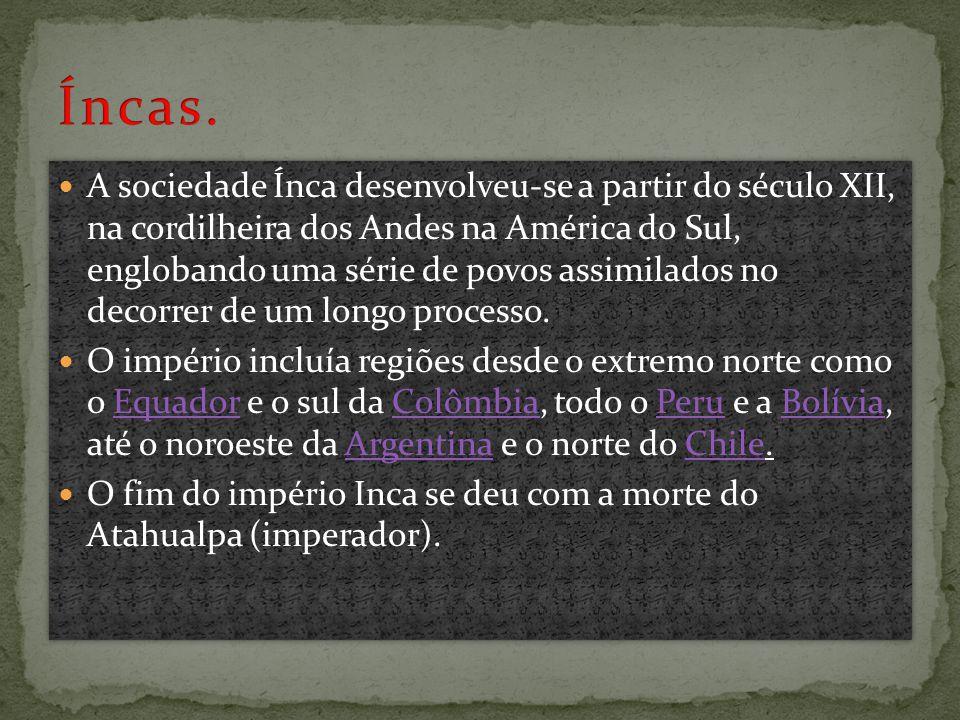  A sociedade Ínca desenvolveu-se a partir do século XII, na cordilheira dos Andes na América do Sul, englobando uma série de povos assimilados no decorrer de um longo processo.
