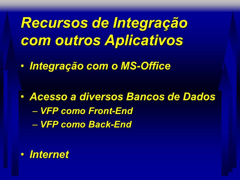 Recursos de Integração com outros Aplicativos •Integração com o MS-Office •Acesso a diversos Bancos de Dados –VFP como Front-End –VFP como Back-End •Internet