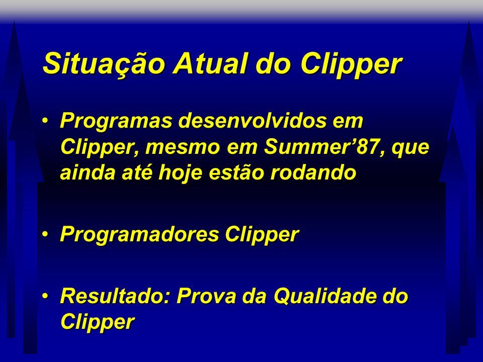 Situação Atual do Clipper •Programas desenvolvidos em Clipper, mesmo em Summer'87, que ainda até hoje estão rodando •Programadores Clipper •Resultado: