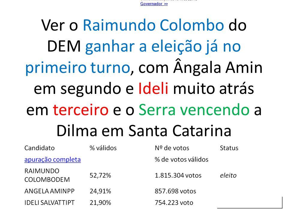 Ver o Raimundo Colombo do DEM ganhar a eleição já no primeiro turno, com Ângala Amin em segundo e Ideli muito atrás em terceiro e o Serra vencendo a D