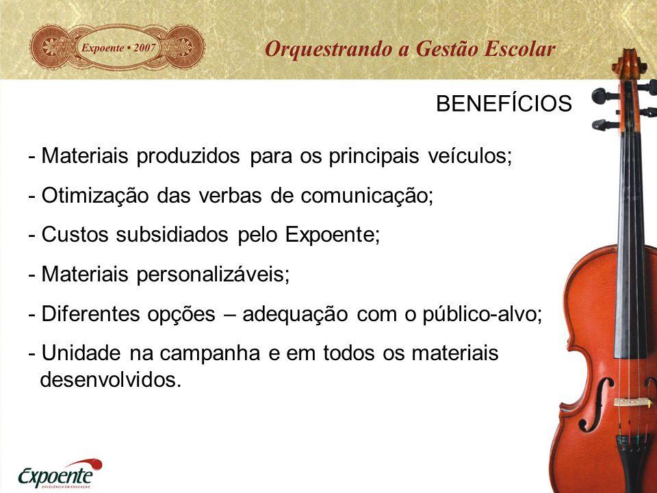 BENEFÍCIOS - Materiais produzidos para os principais veículos; - Otimização das verbas de comunicação; - Custos subsidiados pelo Expoente; - Materiais