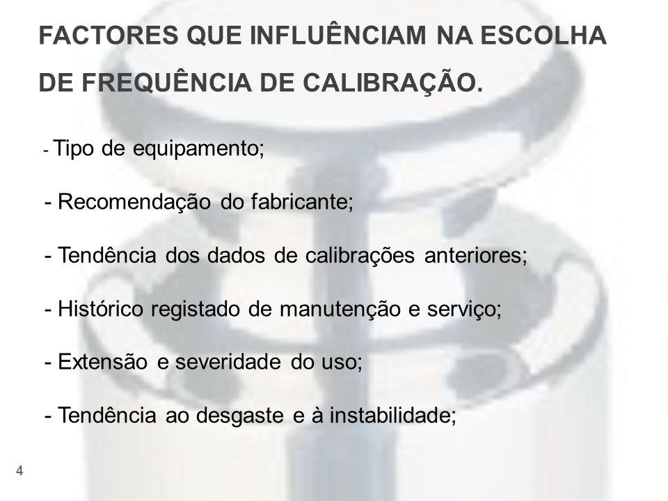4 FACTORES QUE INFLUÊNCIAM NA ESCOLHA DE FREQUÊNCIA DE CALIBRAÇÃO.