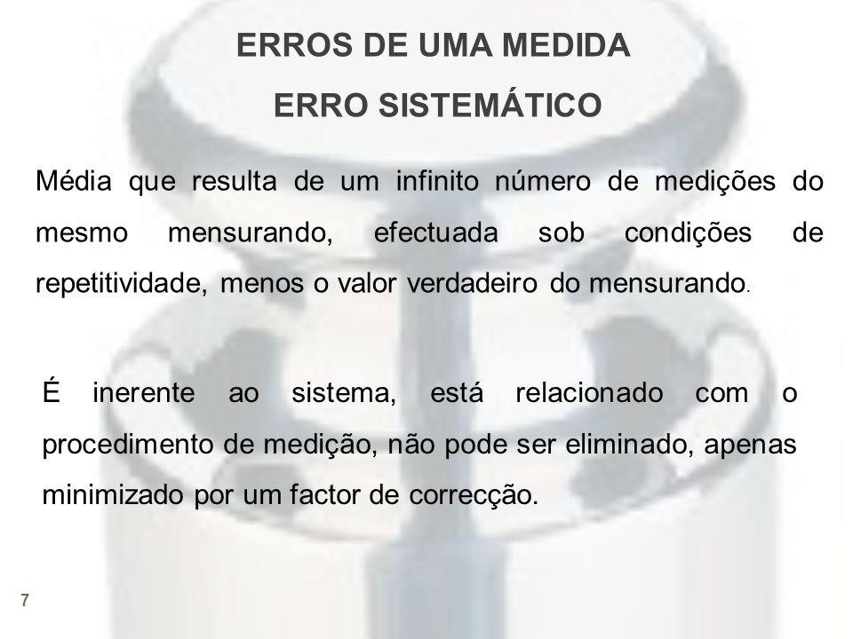 8 Erro sistemático • Afecta todas as medidas de uma mesma grandeza.