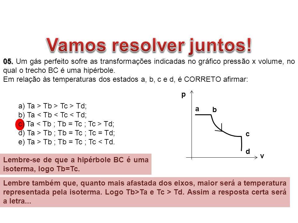 05. 05. Um gás perfeito sofre as transformações indicadas no gráfico pressão x volume, no qual o trecho BC é uma hipérbole. Em relação às temperaturas