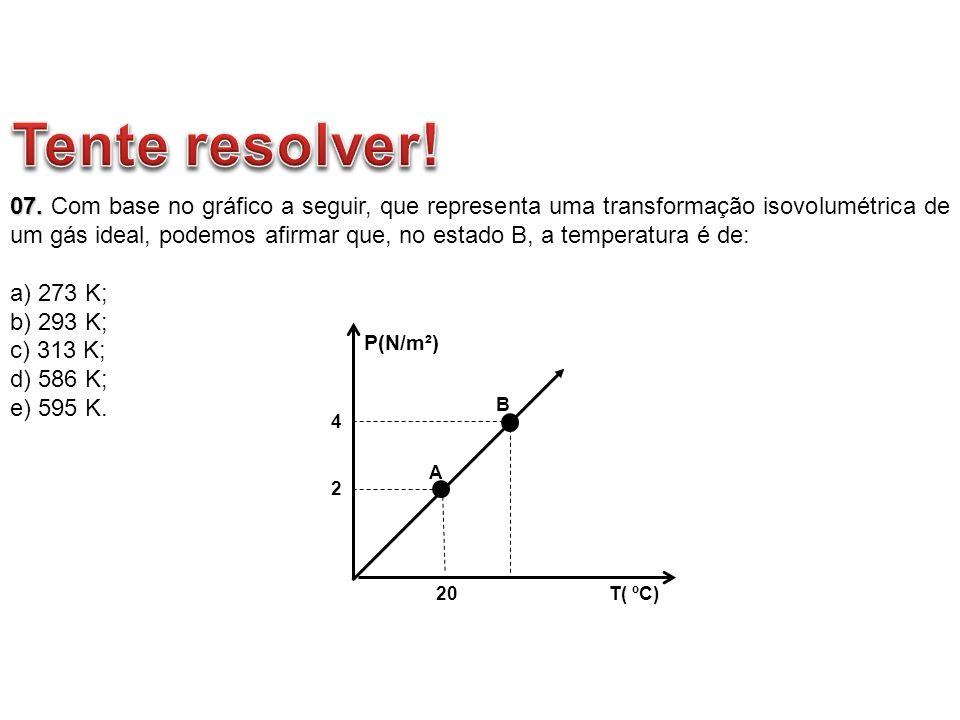 07. 07. Com base no gráfico a seguir, que representa uma transformação isovolumétrica de um gás ideal, podemos afirmar que, no estado B, a temperatura