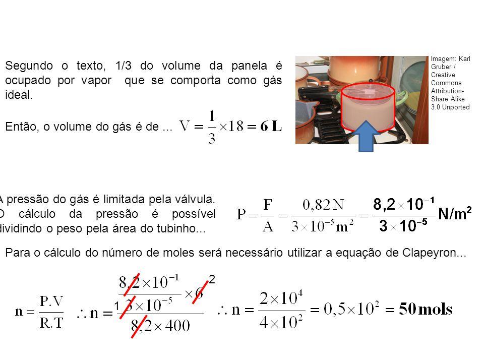 Segundo o texto, 1/3 do volume da panela é ocupado por vapor que se comporta como gás ideal. Então, o volume do gás é de... A pressão do gás é limitad