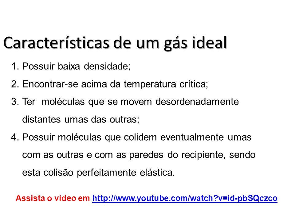 Características de um gás ideal 1.Possuir baixa densidade; 2.Encontrar-se acima da temperatura crítica; 3.Ter moléculas que se movem desordenadamente