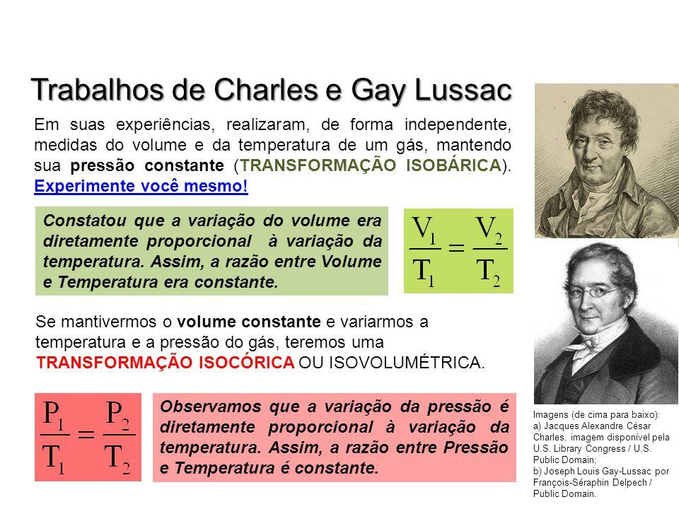 Trabalhos de Charles e Gay Lussac Em suas experiências, realizaram, de forma independente, medidas do volume e da temperatura de um gás, mantendo sua