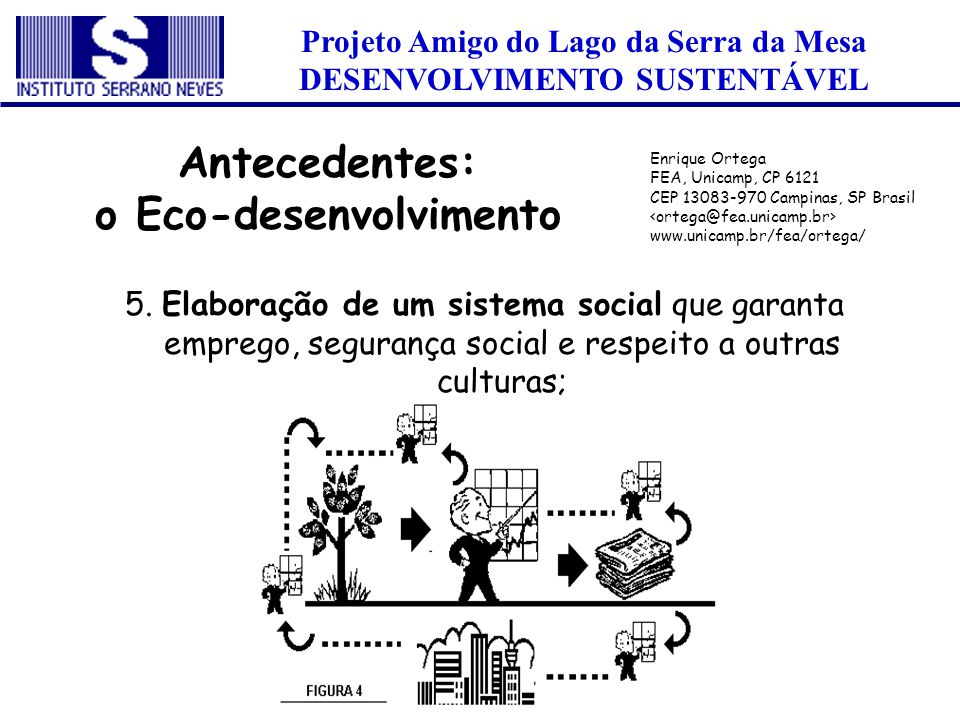 Projeto Amigo do Lago da Serra da Mesa DESENVOLVIMENTO SUSTENTÁVEL 5. Elaboração de um sistema social que garanta emprego, segurança social e respeito