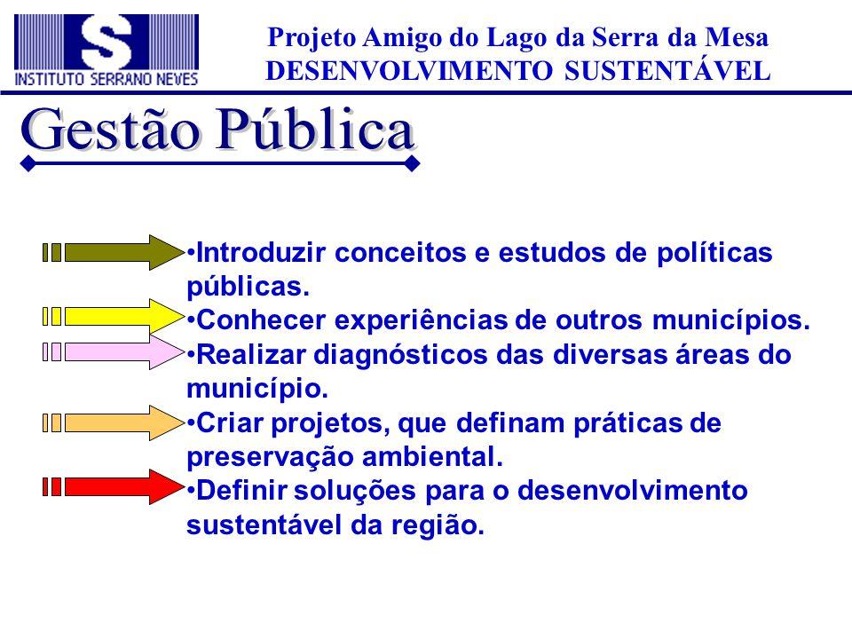 •Introduzir conceitos e estudos de políticas públicas. •Conhecer experiências de outros municípios. •Realizar diagnósticos das diversas áreas do munic