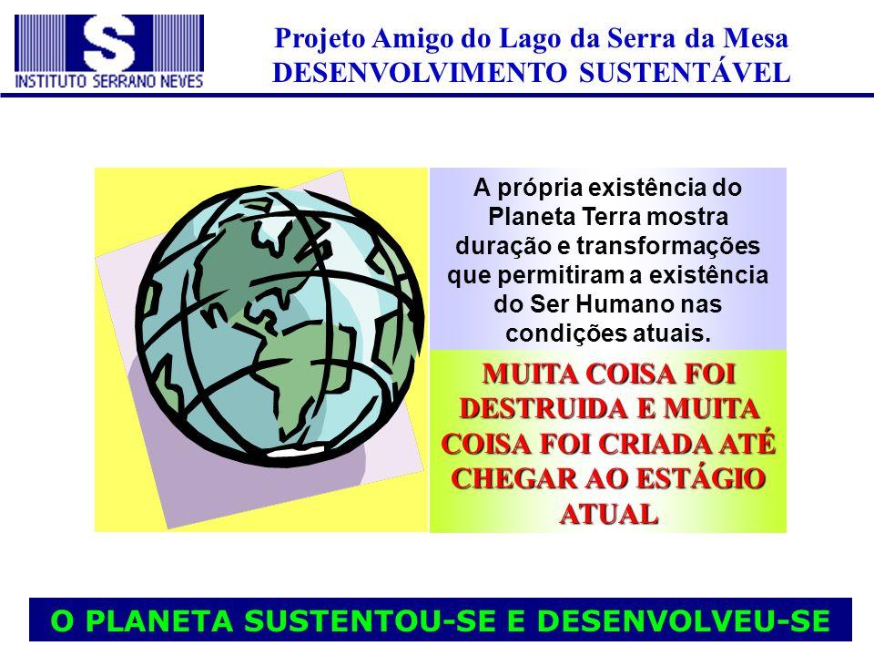 Projeto Amigo do Lago da Serra da Mesa DESENVOLVIMENTO SUSTENTÁVEL A própria existência do Planeta Terra mostra duração e transformações que permitira