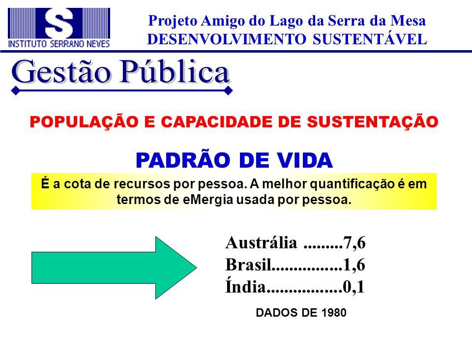 Projeto Amigo do Lago da Serra da Mesa DESENVOLVIMENTO SUSTENTÁVEL POPULAÇÃO E CAPACIDADE DE SUSTENTAÇÃO PADRÃO DE VIDA É a cota de recursos por pesso