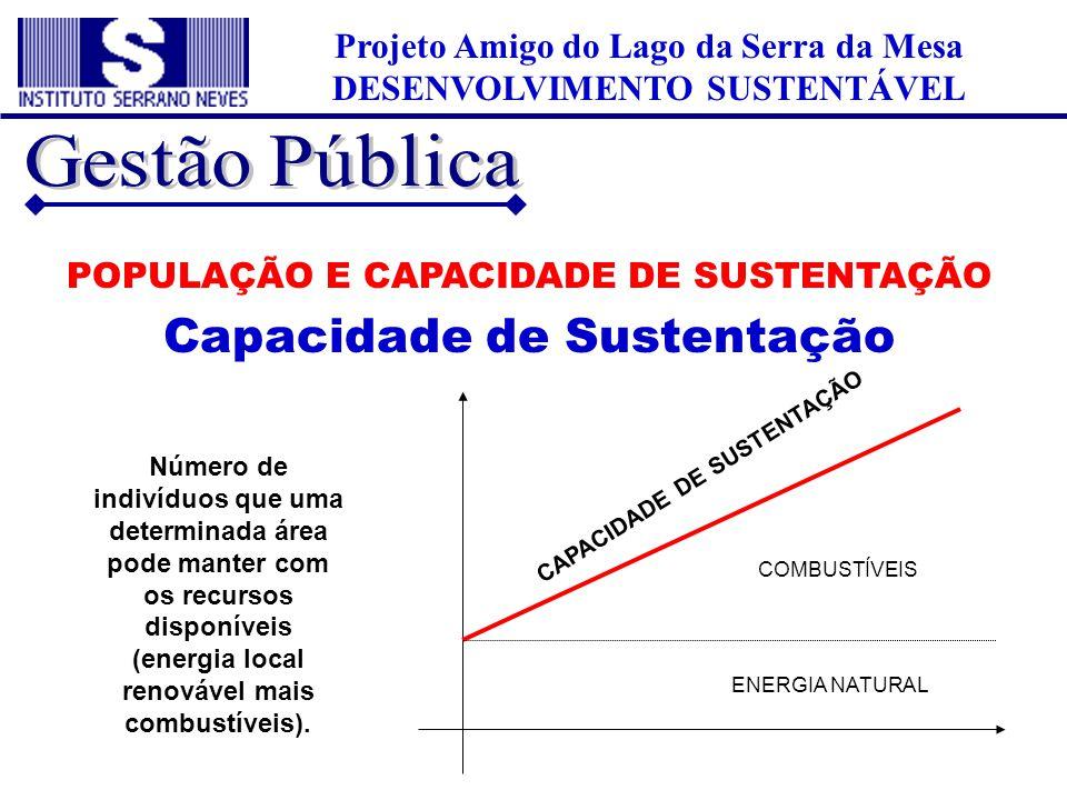 Projeto Amigo do Lago da Serra da Mesa DESENVOLVIMENTO SUSTENTÁVEL POPULAÇÃO E CAPACIDADE DE SUSTENTAÇÃO Capacidade de Sustentação Número de indivíduo