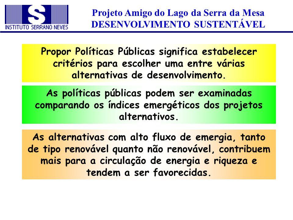 Projeto Amigo do Lago da Serra da Mesa DESENVOLVIMENTO SUSTENTÁVEL Propor Políticas Públicas significa estabelecer critérios para escolher uma entre v