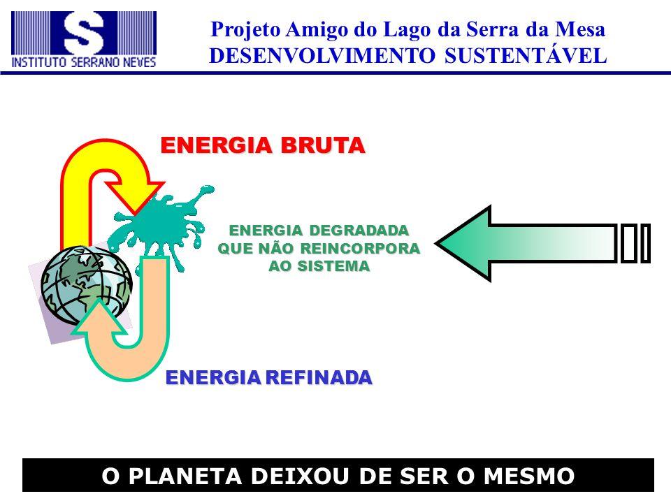 Projeto Amigo do Lago da Serra da Mesa DESENVOLVIMENTO SUSTENTÁVEL O PLANETA DEIXOU DE SER O MESMO ENERGIA DEGRADADA QUE NÃO REINCORPORA AO SISTEMA EN