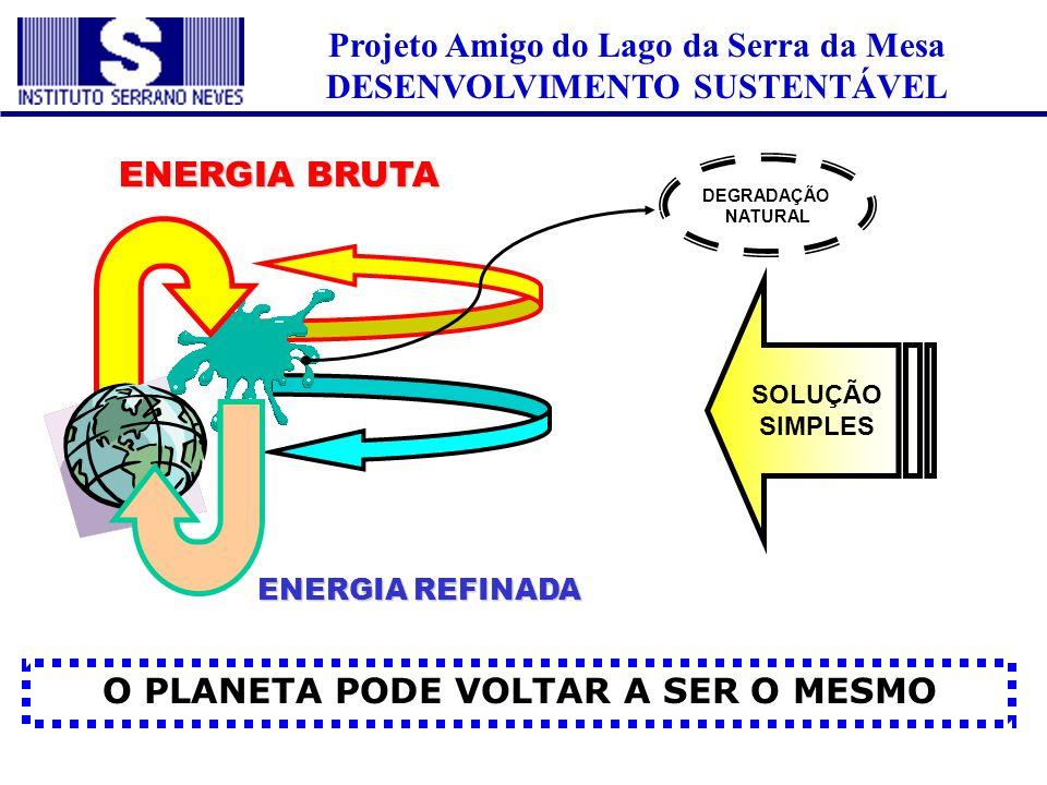 Projeto Amigo do Lago da Serra da Mesa DESENVOLVIMENTO SUSTENTÁVEL O PLANETA PODE VOLTAR A SER O MESMO ENERGIA BRUTA ENERGIA REFINADA SOLUÇÃO SIMPLES