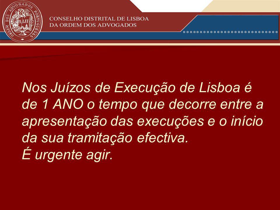 Nos Juízos de Execução de Lisboa é de 1 ANO o tempo que decorre entre a apresentação das execuções e o início da sua tramitação efectiva.