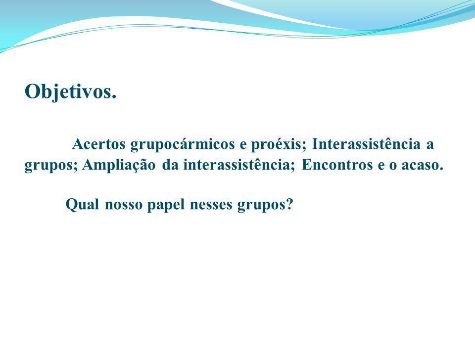 Objetivos. Acertos grupocármicos e proéxis; Interassistência a grupos; Ampliação da interassistência; Encontros e o acaso. Qual nosso papel nesses gru