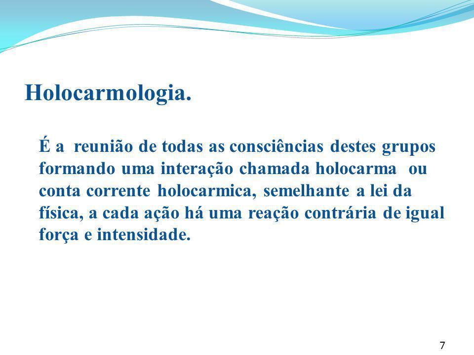 Holocarmologia. É a reunião de todas as consciências destes grupos formando uma interação chamada holocarma ou conta corrente holocarmica, semelhante