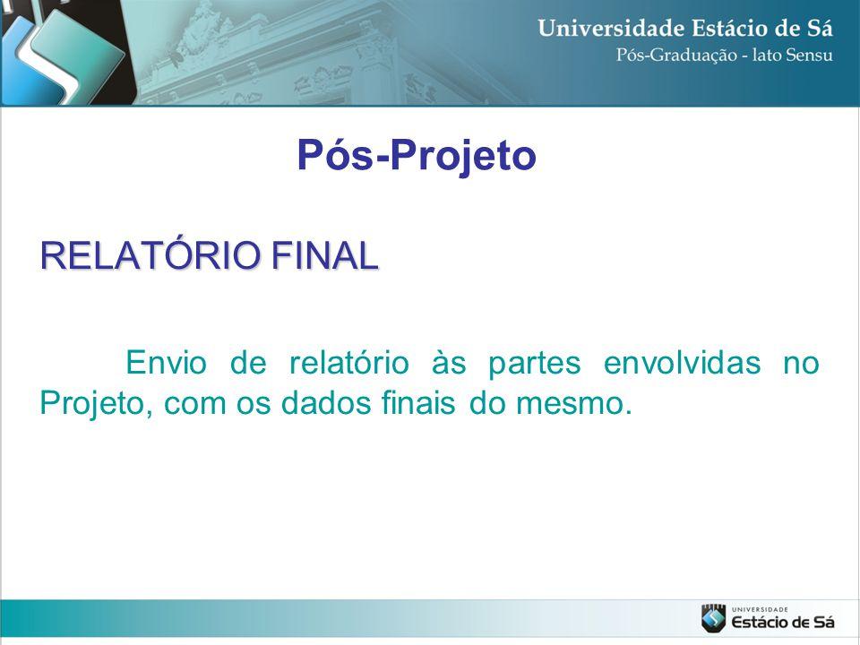 RELATÓRIO FINAL Envio de relatório às partes envolvidas no Projeto, com os dados finais do mesmo. Pós-Projeto