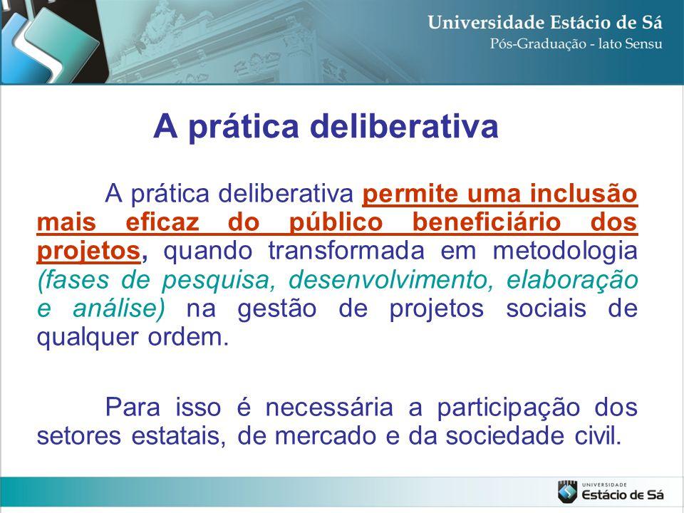 A prática deliberativa permite uma inclusão mais eficaz do público beneficiário dos projetos, quando transformada em metodologia (fases de pesquisa, d