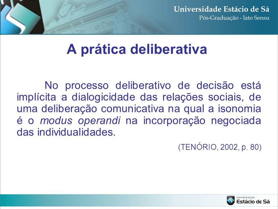 No processo deliberativo de decisão está implícita a dialogicidade das relações sociais, de uma deliberação comunicativa na qual a isonomia é o modus