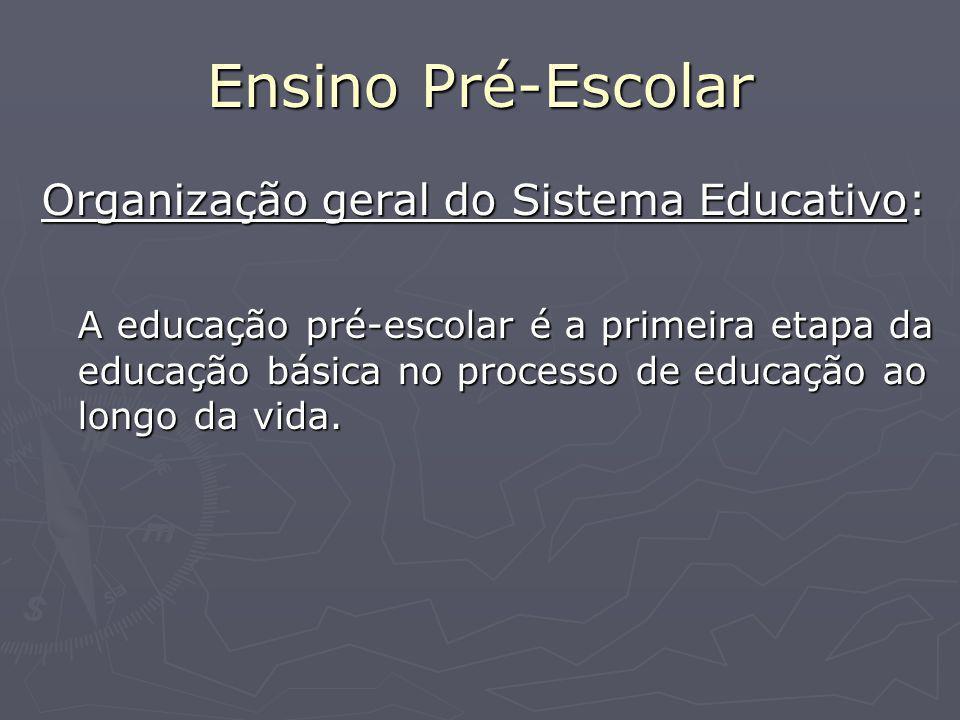 Ensino Pré-Escolar Organização geral do Sistema Educativo: A educação pré-escolar é a primeira etapa da educação básica no processo de educação ao longo da vida.