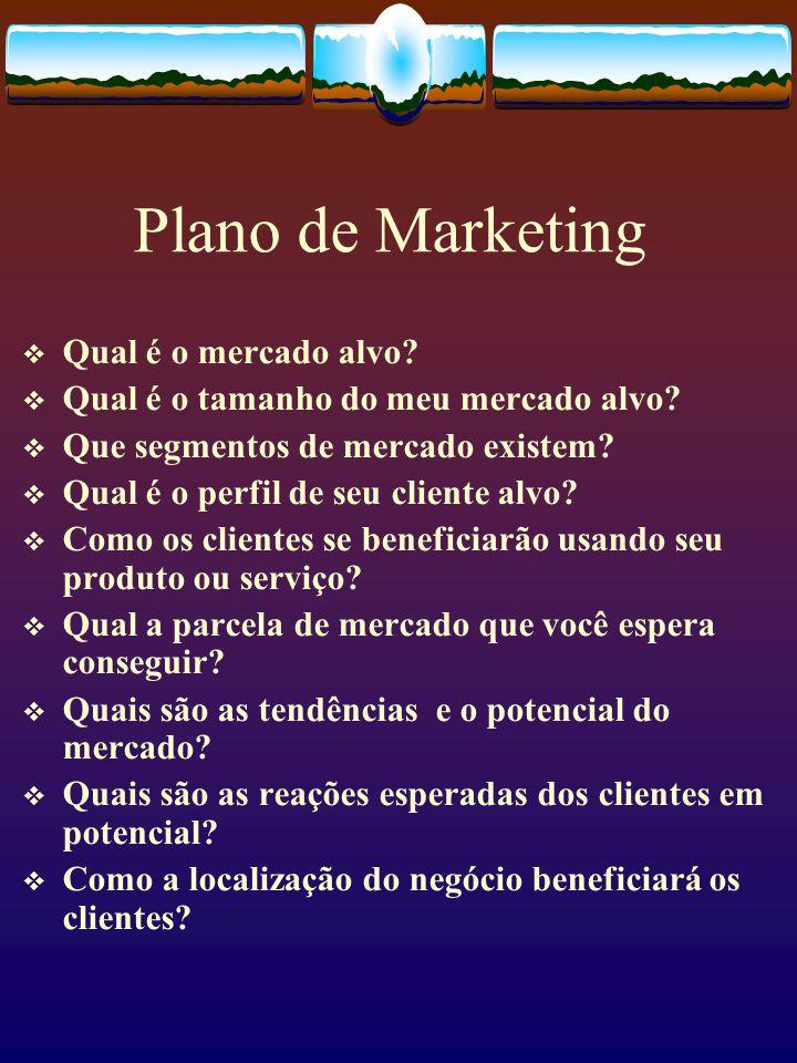 Plano de Marketing  Qual é o mercado alvo?  Qual é o tamanho do meu mercado alvo?  Que segmentos de mercado existem?  Qual é o perfil de seu clien