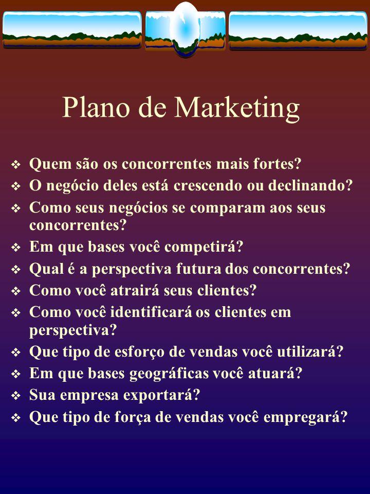 Plano de Marketing  Quem são os concorrentes mais fortes?  O negócio deles está crescendo ou declinando?  Como seus negócios se comparam aos seus c