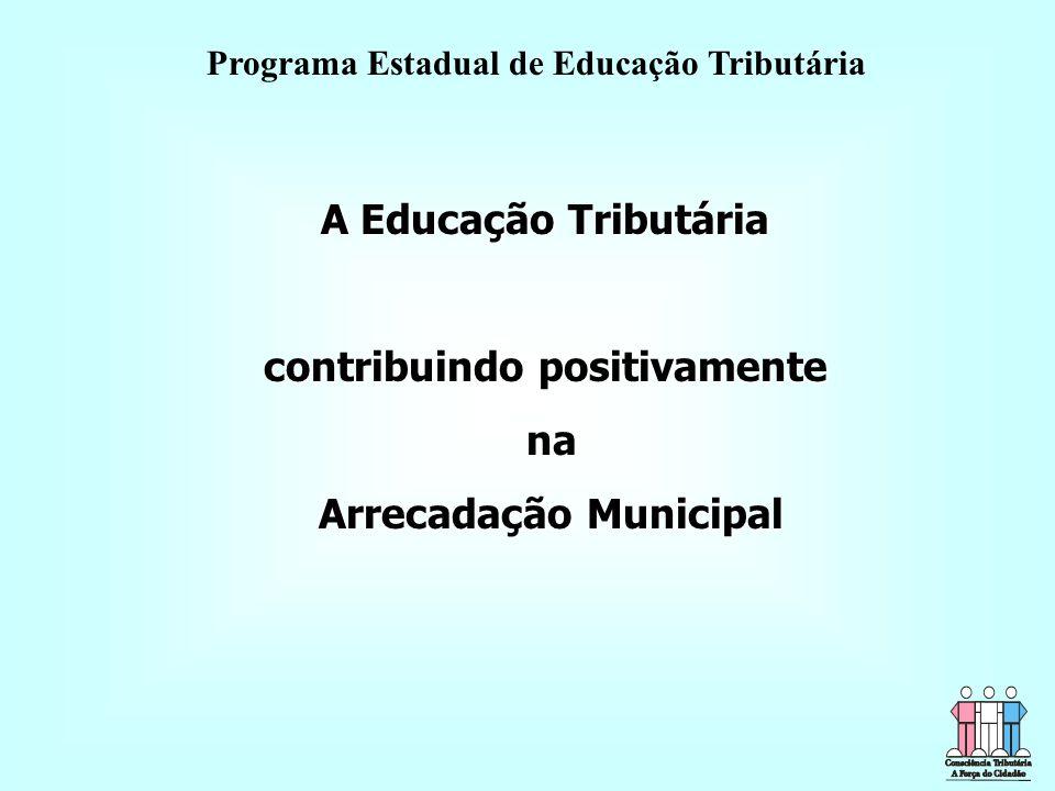 A Educação Tributária contribuindo positivamente na na Arrecadação Municipal Arrecadação Municipal Programa Estadual de Educação Tributária