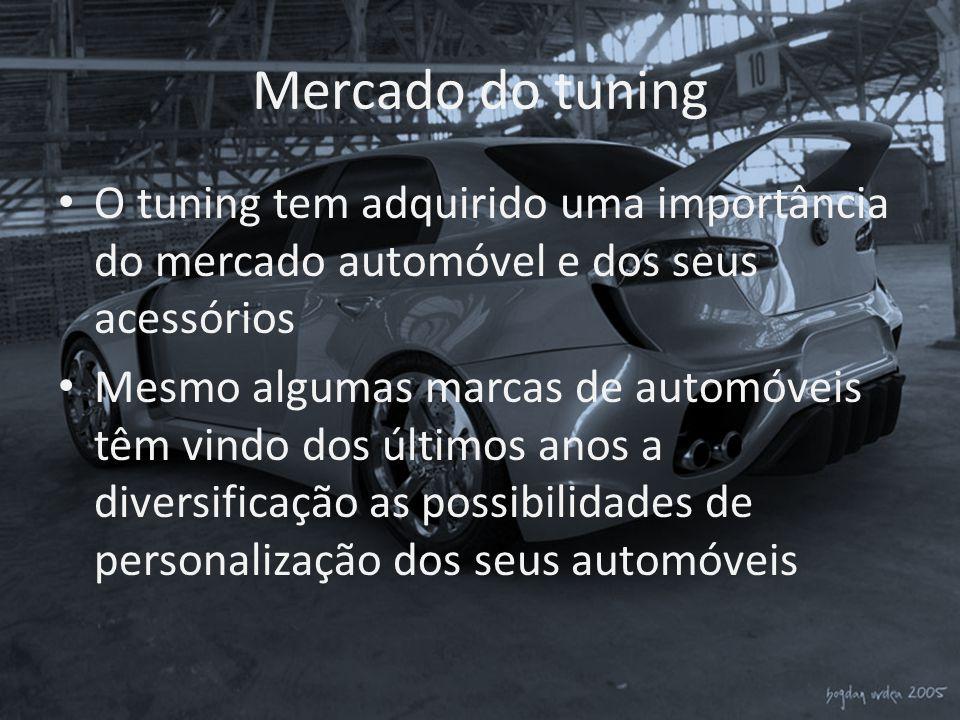 Mercado do tuning • O tuning tem adquirido uma importância do mercado automóvel e dos seus acessórios • Mesmo algumas marcas de automóveis têm vindo d